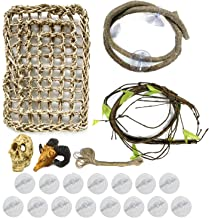 PietyPet 21 pcs Reptile Lizard Habitat Decor Accessories, Bearded Dragon Hammock, Reptile Hammock with Artificial Vines and Artificial skull skeleton Ornament for Chameleon, Lizards, Gecko, Snakes