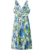 Watercolor Printed Chiffon A-Line Dress w/ Pleated Skirt
