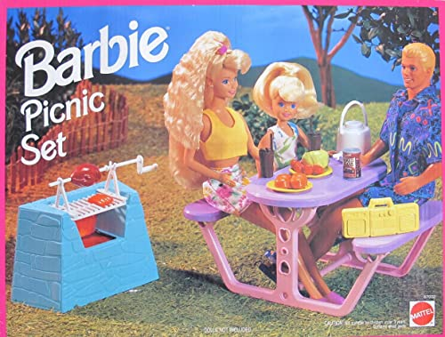 Barbie PICNIC SET Playset w Barbecue w Spit, Picnic Table & MORE  (1993 Arcotoys, Mattel)