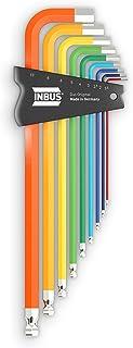INBUS® 70273 zestaw kluczy imbusowych, 9-częściowy, 1,5–10 mm, z kolorową powłoką ColorGrip i głowicą kulową – Made in Ger...