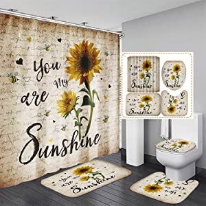Ybest Sunflower Shower Curtain Sets with Rugs 4PCS You are My Sunshine Bathroom Decor Set Waterproof Shower Curtain Non-Slip Rugs Toilet Rugs Bath Mats Bathroom Curtains Shower Set with 12 Hooks