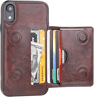 iPhone XR Wallet Case Credit Card Holder, KIHUWEY Premium Leather Kickstand Durable Shockproof Protective Cover iPhone XR 6.1 Inch(Brown)