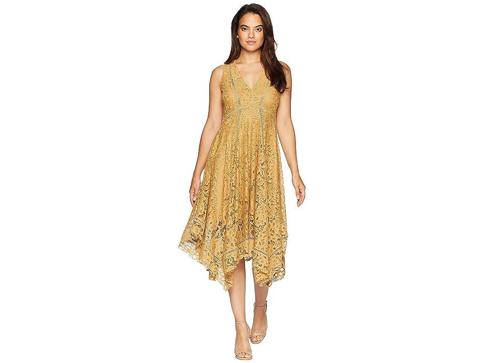 Taylor Sleeveless Lace Hankerchief Hem Dress (Cocoa) Women