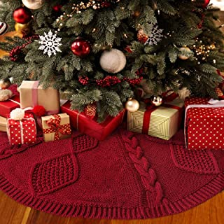 LimBridge Christmas Tree Skirt, 48 inches Diamond Knit Knitted Thick Rustic Xmas Holiday Decoration, Burgundy