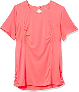 Fruit of the Loom Fit for Me من Women's Plus Size Breathable Shirred Performance Mesh T-Shirt ، Neon Coral ، 1X