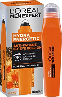 L'Oréal Paris Men Expert Hydra Energetic Cool Eye Roll-On For Men, Reduce Dark Circles with Vitamin C and Caffeine, 10ml