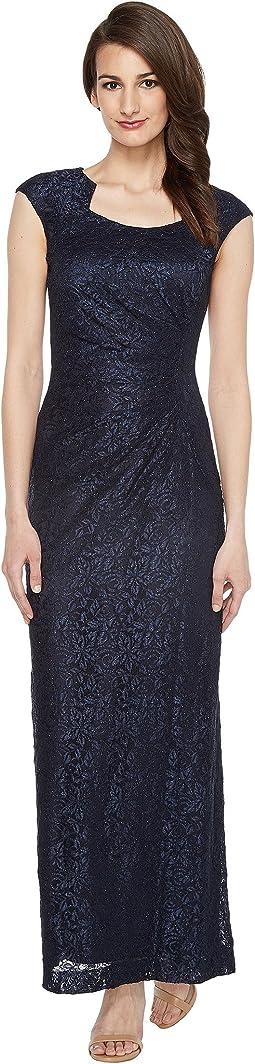 Horseshoe Neck Lace Gown