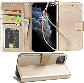Arae Case for iPhone 11 Pro Max PU Leather Wallet Case Cover [Stand Feature] with Wrist Strap and [4-Slots] ID&Credit Cards Pocket for iPhone 11 Pro Max 6.5 inch 2019 Released (Champagne Gold)
