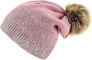 HYVIBY Women Winter Warm Knit Thick Skull Hat Cap Pom Pom Shiny Slouchy Beanie Hats