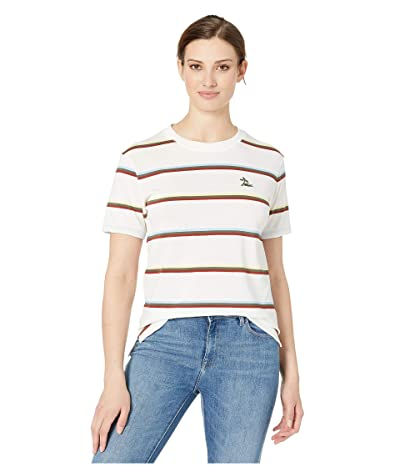 Lacoste Short Sleeve Relaxed Fit Striped T-Shirt (Flour) Women