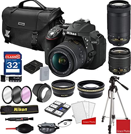 $569 Get Nikon D5300 DSLR Camera with AF-P 18-55mm and 70-300mm Zoom Lenses + Nikon DSLR Camera Case + 32GB Memory Bundle (25pcs)