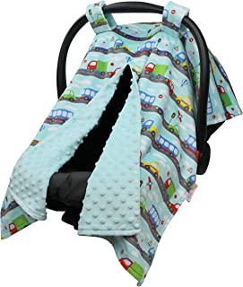 Baby Car Seat Canopy Cover - Traffic Jam with Aqua Blue Minky Dot