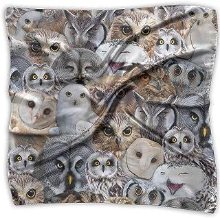 Snowy Owl Species Womens Large Square Satin Head Scarf Silk Like Neck Bandana