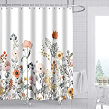 ZeplaAnn Floral Shower Curtain, Watercolor Flowers Fabric Bathroom Curtains Set with Hooks Decorative Botanical Leaves Pat...
