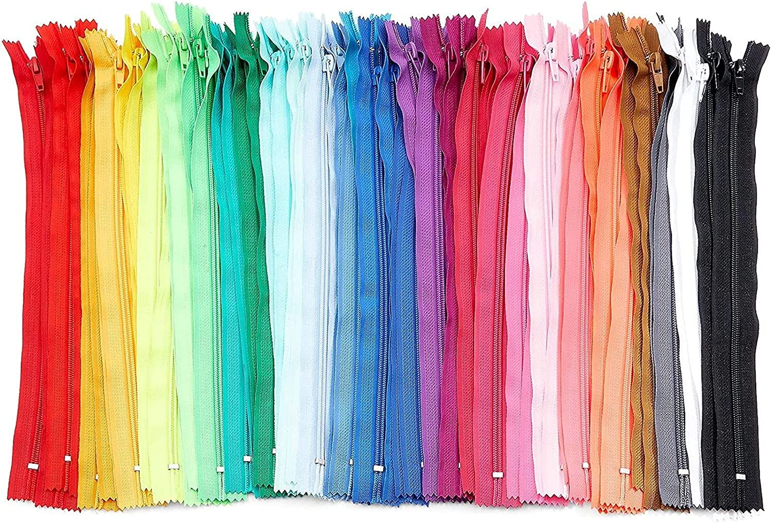 #5 Nylon Coil Zippers for Sewing, 30 Colors (12 Inches, 60 Pieces)