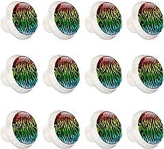 "12 Pack Ronde Keukenkast Knoppen Trekt (1-37/100"" Diameter) - Kleurrijke Zebra Stof Patroon - Dressoir Lade/Deur Hardware..."