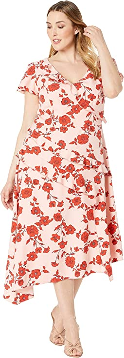 Plus Size Gauzy Crepe  Floral Fit and Flare Dress