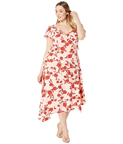 Adrianna Papell Plus Size Gauzy Crepe Floral Fit and Flare Dress (Pink/Red Multi) Women