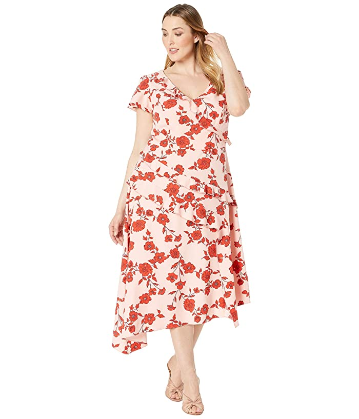 1920s Plus Size Flapper Dresses, Gatsby Dresses, Flapper Costumes Adrianna Papell Plus Size Gauzy Crepe Floral Fit and Flare Dress PinkRed Multi Womens Dress $107.40 AT vintagedancer.com