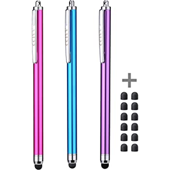 Stylus Pens for Touch Screens iPad iPhone Kindle Fire (Pink/Purple/Aqua Blue)