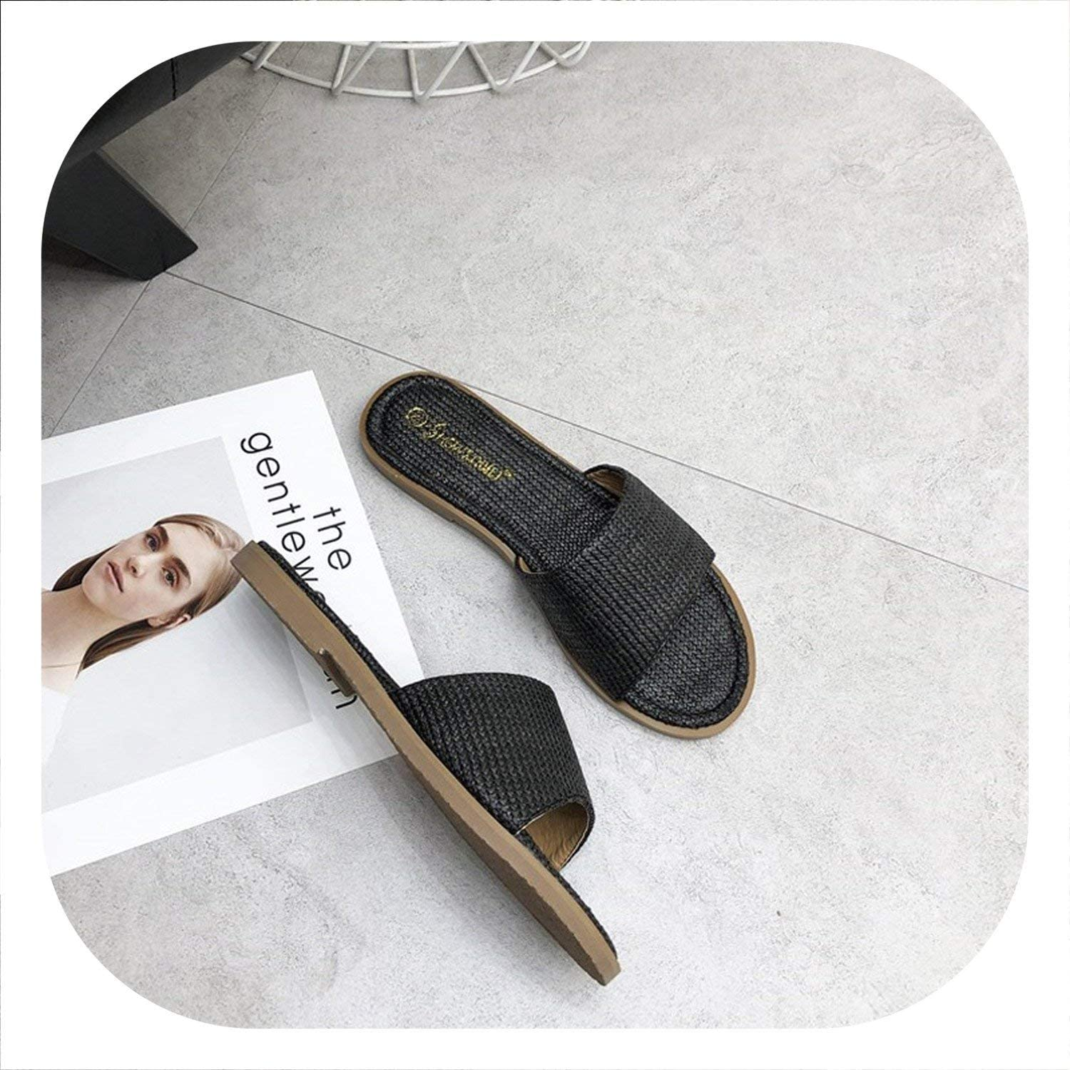 I Need-You Fashion Slippers Summer shoes Female Slides Cane Weaving Mules shoes Women Beach Slippers Casual Slides Ladies Flats shoes
