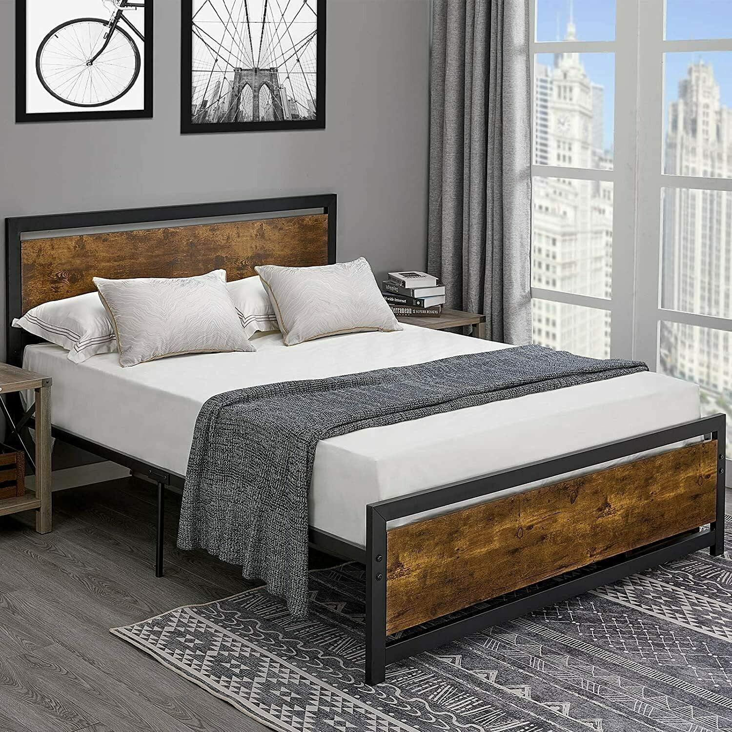 GXK Bed Max 70% OFF Frame Full Size with Metal Platform Wooden Factory outlet Hea