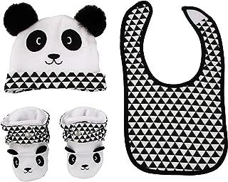 Baby Boy Panda Bear Hat, Bib, and Bootie Gift Box Set, Black/White, Age 6-12 Months