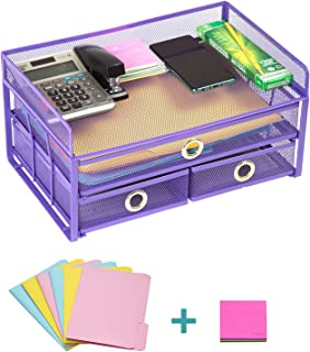 """Pro Space Mesh Desk Organizer 3-Tier Metal Desktop File Organizer with 3 Drawers,Document Letter Tray for Office or Home,6 File Folders and a Note for Free,13.8""""9.06""""6.9"""", Purple"""
