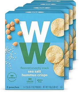 WW Sea Salt Hummus Crisps - Gluten-free, 2 SmartPoints - 4 Boxes (20 Count Total) - Weight Watchers Reimagined