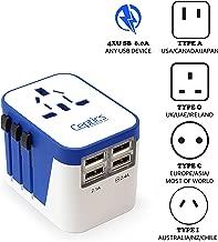 Ceptics Travel Adapter Plug World Power W/ 4 USB Ports - Charge Cell Phones, Smart Watches, iPhones All over the World  - For International Europe, China, UK, UAE, Australia - Type A, C, G, I - (UP-9KU)