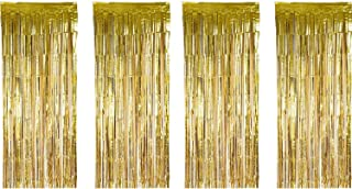 Sumind 4 Pack Foil Curtains Metallic Fringe Curtains Shimmer Curtain for Birthday Wedding Party Christmas Decorations (Gold)