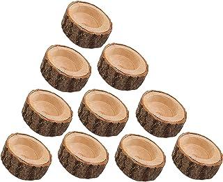 Pofet Lot de 10 bougeoirs en écorce en bois pour fleurs, pot de fleurs, pot de fleurs, support de bougie en bois pour mari...