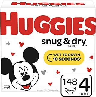 Huggies Snug & Dry Diapers, Size 4 (22-37 lb.), 148 Ct, Giant Pack (Packaging May Vary)