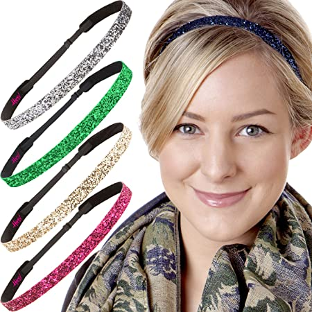 Pink GYMNASTICS No slip Headband adjustable Rhinestone non sweaty Hair Bands