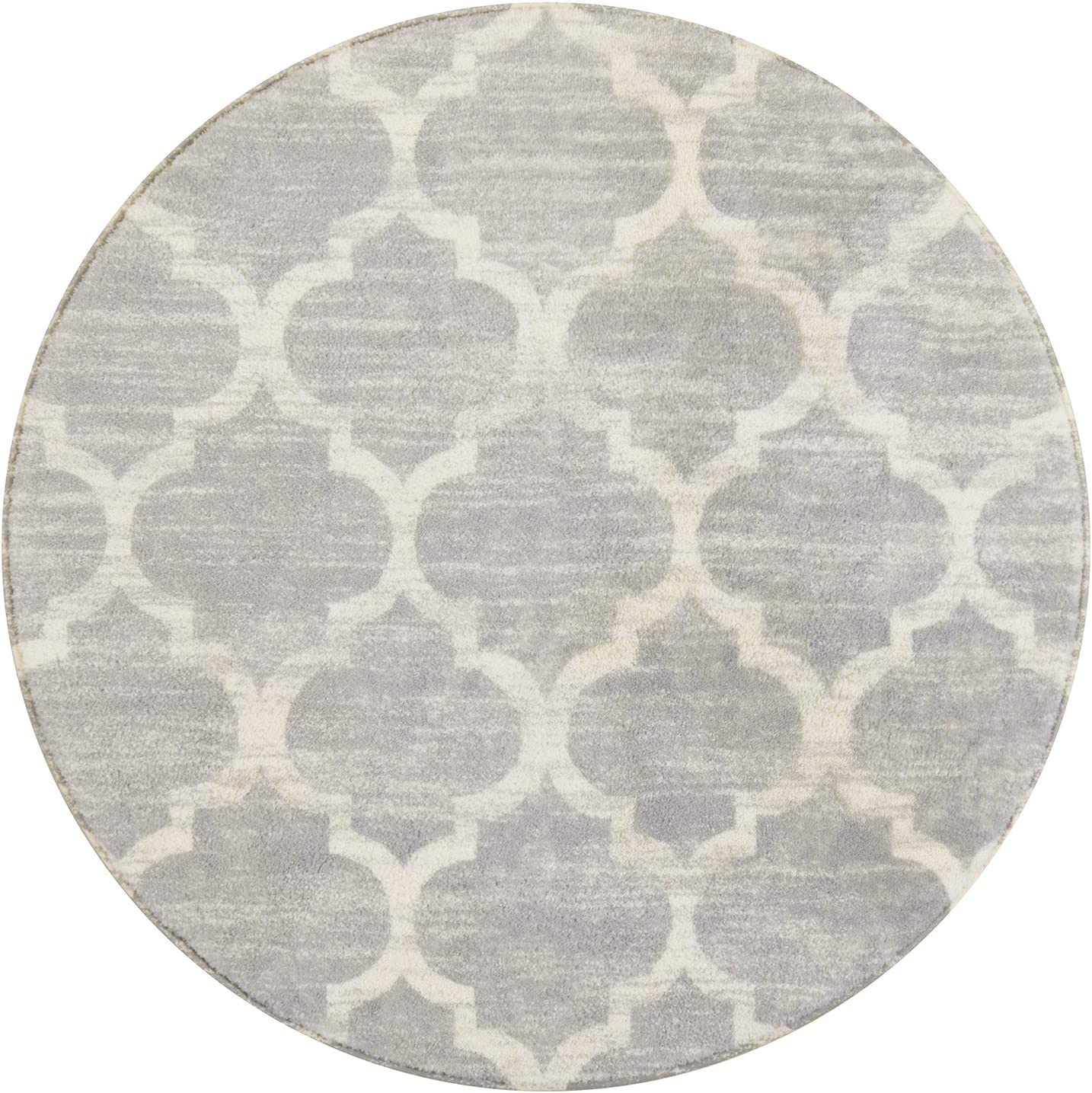 Lahome Moroccan Area Rug - 3' Diameter Faux Wool Non-Slip Area Rug Small Accent Distressed Throw Rugs Floor Carpet for Door Mat Entryway Bedrooms Laundry Room Decor (Round - 3' Diameter, Gray)