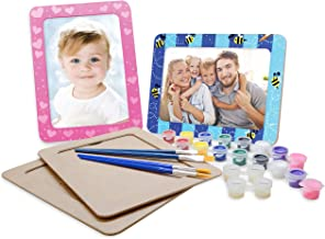 VHALE Paint Your Own Picture Frame, 4 Sets of MDF Wood Photo Frames (5 x 7 inch) with Stand, for Children to Paint and Decorate, Classroom Arts and Crafts, Party Favors for Kids