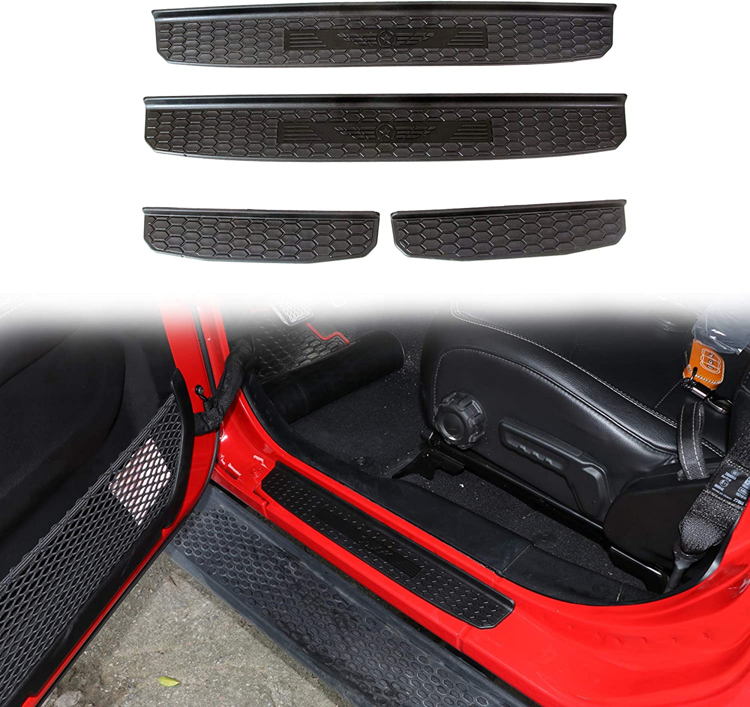 Sukemichi Front and Rear Entry Guards Door Sill Guards Scuff Plate Protectors for Jeep Wrangler JL 4 Door Black