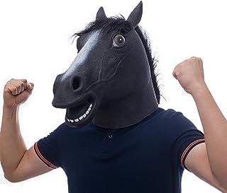molezu Pferdemaske für Halloween Maske Latex Tiermaske Erwachsene Pferdekopf Pferd Kostüm für Weihnachten Party Dekoration