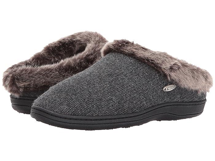 Acorn  Chinchilla Clog Ragg (Dark Charcoal Heather) Womens Slippers