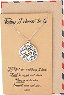 Om Yoga Necklace, New Beginnings Meditation Contentment Reminder Charm, Happy for Yogis, Limited Edition - 100% Handmade