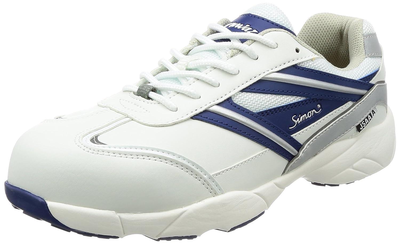 [シモン] プロスニーカー 短靴 JSAA規格 軽量 軽快 スニーカー 紐 KA211ホワイト/ブルー