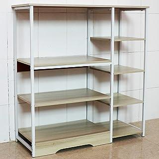 Aewio Home Kitchen Rack Office Utility Storage Shelf Multi Function Organizer Shelf (4 Layer 5-Tier Maple+White)