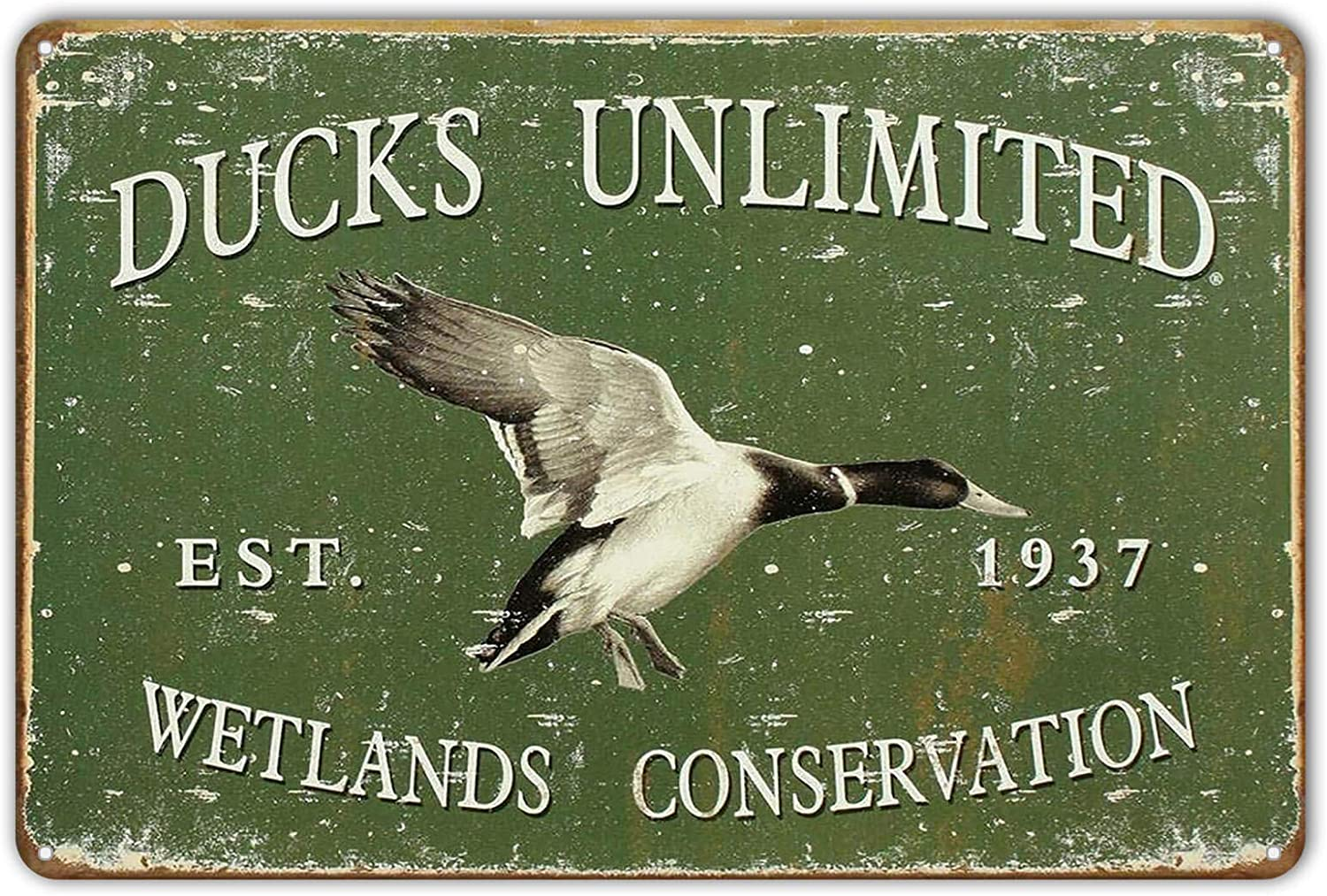 NINGFEI Metal Tin Sign Ducks Unlimited Since 1937 Vintage Style Hunt Cabin Wall Decor 8 x 12 inches Decorative Sign