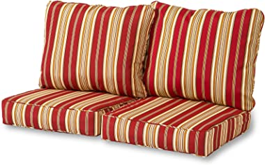 Greendale Home Fashions Deep Seat Loveseat Cushion Set, Roma Stripe