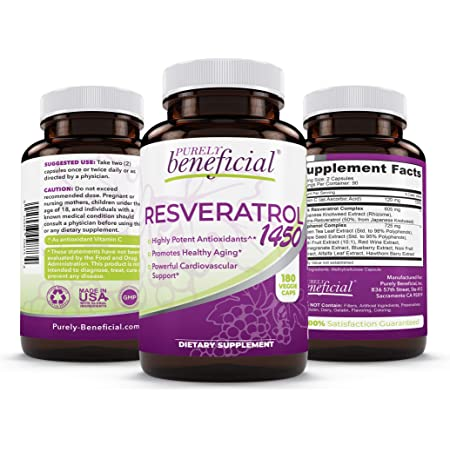 RESVERATROL1450-90day Supply, 1450mg per Serving of Potent Antioxidants & Trans-Resveratrol, Promotes Anti-Aging, Cardiovascular Support, Maximum Benefits (1bottle)