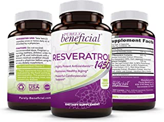RESVERATROL1450-90day Supply, 1450mg per Serving of Potent Antioxidants & Trans-Resveratrol, Promotes Anti-Aging, Cardiova...