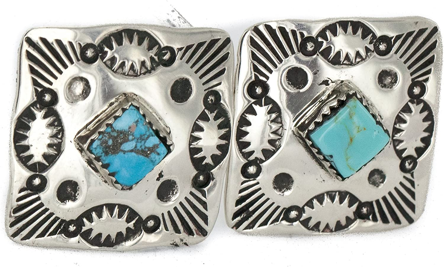 $200Tag Certified Navajo Nickel Natural Turquoise Native American Cuff Links 19127 Made by Loma Siiva