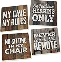 Man Cave My Rules Distressed Rustic Wood Look 4 x 4 Absorbent Ceramic Coasters Set of 4