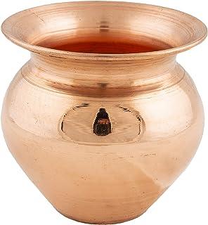 Shubhkart Copper Kalash, Handmade Indian Copper Kalash, Kalash Lota for Festival Puja (Large)