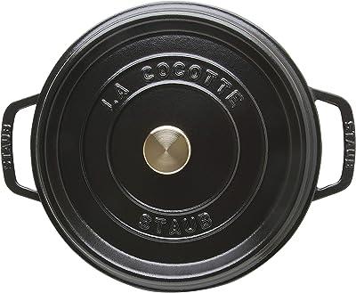 staub ストウブ 「 ピコ ココット ラウンド ブラック 24cm 」 大きい 両手 鋳物 ホーロー 鍋 IH対応 【日本正規販売品】 La Cocotte Round 40500-241